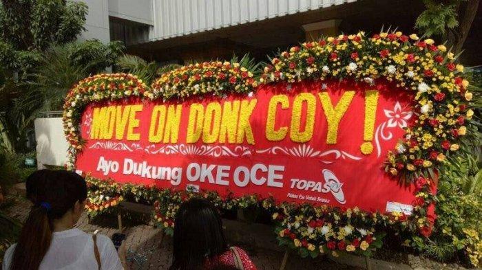 Diantara Ribuan Karangan Bunga Ahok, Terselip Ucapan Dukungan untuk Anies - Sandi
