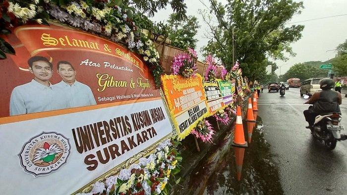 Detik-detik Jelang Pelantikan Gibran sebagai Wali Kota Solo, Karangan Bunga Banjiri Gedung DPRD