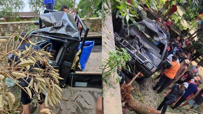 Petaka Rem Bermasalah, L300 Tabrak Pohon Durian hingga Tumbang di Karanganyar, Mobil Rusak Parah