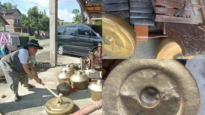 Ki Dalang Gondho Wartoyo menghancurkan alat pentas untuk pewayangan di depan rumahnya di Dukuh Bulu RT 004 RW 003, Desa Tegalgiri, Kecamatan Nogosari, Kabupaten Boyolali. Penampakan alat-alat yang rusak dan berantakan, Sabtu (3/4/2021).
