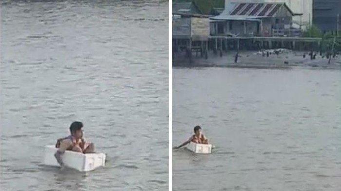 Viral Bocah Naik Kotak Gabus Susuri Sungai Demi Bisa ke Sekolah, Terungkap Fakta Sebenarnya