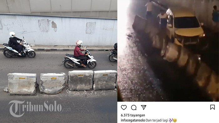 Viral Mobil Gasak Beton Pembatas Underpass Makamhaji, Begini Kesaksian Warga