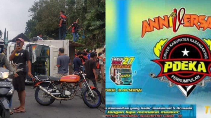 Habis Bawa Alat-alat Pesta Dangdutan di Sekipan, Truk Tergelincir di Jalan Utama Tawangmangu