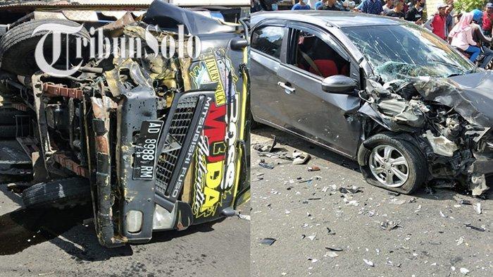 Kecelakaan Dahsyat di Jalanan Karanggede, Truk Terguling & Brio Rusak Parah, Sejumlah Orang Terluka