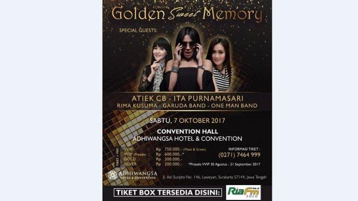 Konser Golden Sweet Memory Akan Digelar di Adhiwangsa Hotel, Tiket Tersedia di Radio Ria FM Solo