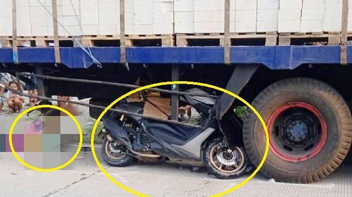 Kecelakaan pengendara masuk ke kolong truk tronton yang tengah berhenti di Jalan Raya Gemolong - Brumbung, Dukuh/ Desa Karangasem, Kecamatan Tanon, Kabupaten Sragen, Kamis (29/4/2021).
