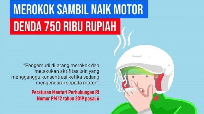 Kini, Merokok saat Berkendara Bisa Didenda Rp 750 Ribu