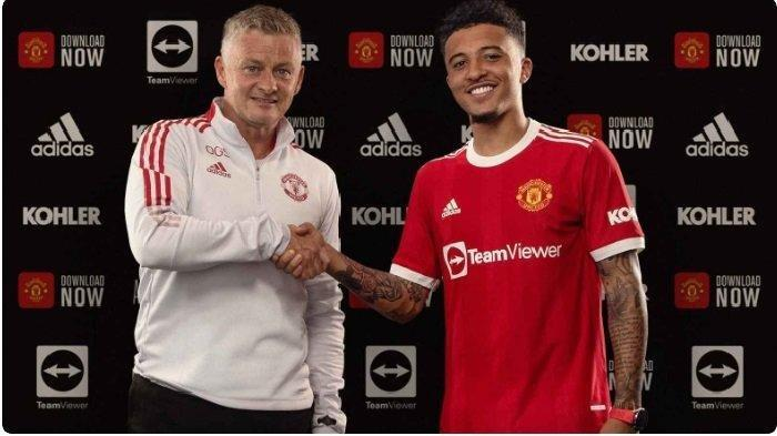 Manchester United meresmikan kepindahan Jadon Sancho dari Borussia Dortmund, Jumat (23/7/2021) malam, WIB.