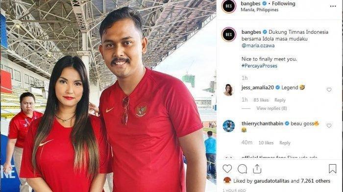 Maria Ozawa Pakai Jersey Timnas Indonesia pada Gelaran SEA Games, Ini Komentar Netizen Indonesia