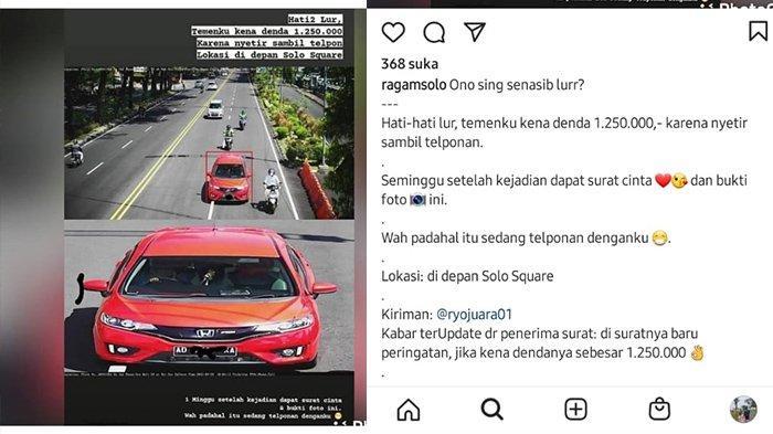 Viral, Pengendara Mobil di Solo Kena Denda Tilang Elektronik Rp 1,2 Juta, Begini Penjelasan Polisi