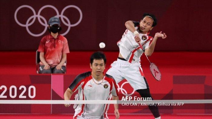 Olimpiade Tokyo 2020 : Sempat Reli 50 Detik, Ahsan/Hendra Gebuk Wakil Malaysia di Gim Pertama