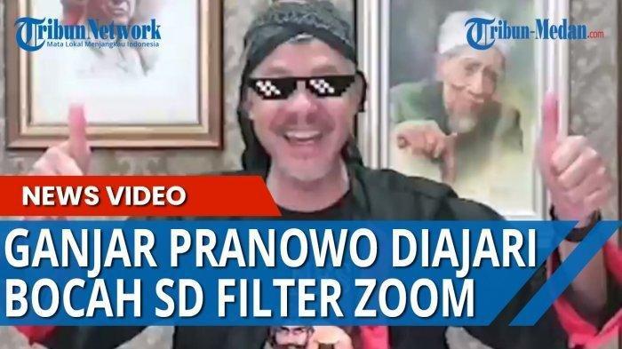Momen Ganjar Pranowo saat Pakai Aplikasi Zoom.