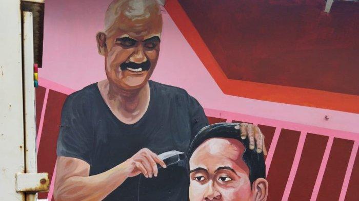 Kenang Jasa Rudy Bangun Solo, Muralis Hadiahkan Gambar: Rudy Menyapu sampai Mencukur Gibran