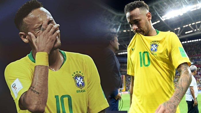 Brasil Kalah dari Belgia, Ini Foto-foto Neymar yang Tertunduk Lesu dengan Mata Berkaca-kaca
