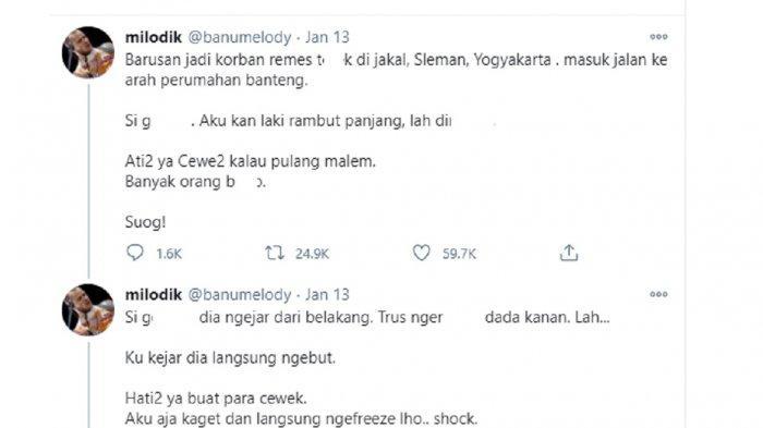 Dikira Wanita, Pria Gondrong Jadi Korban Begal Payudara di Jalan Kaliurang, Sleman: Ane Laki