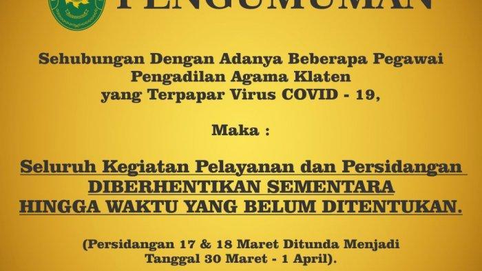 Kantor Pengadilan Agama Klaten Lockdown, 9 Pegawai Positif Corona, Pelayanan Ikut Terdampak