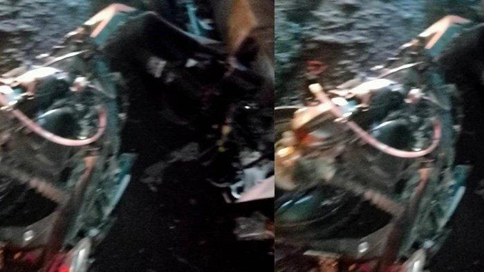 Penampakan Motor Honda Beat Seusai Kecelakaan Maut di Kartasura: Bodi Remuk, Rangka MotorTerlihat