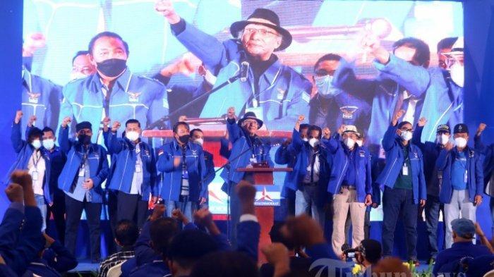 Pendiri Partai Demokrat, Etty Manduapessi secara resmi membuka Kongres Luar Biasa (KLB) Partai Demokrat di The Hill Hotel Sibolangit, Deliserdang, Sumatera Utara, Jumat (5/3/2021). Berdasarkan hasil KLB tersebut, Moeldoko terpilih menjadi Ketua Umum Partai Demokrat.