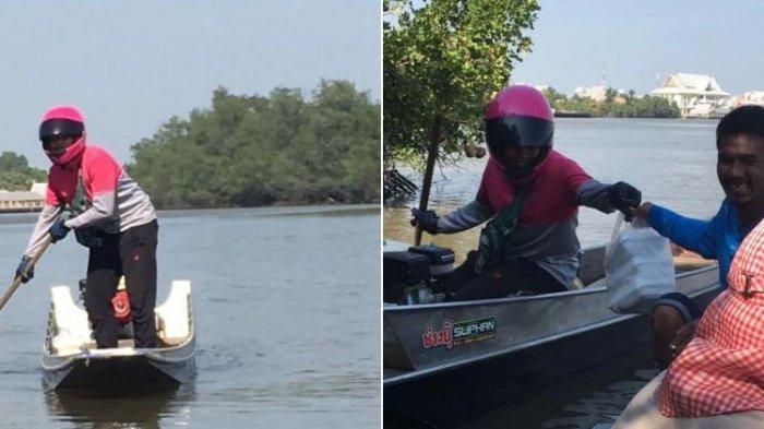Dapat Orderan Seorang Pemancing, Driver Ini Rela Antar Makanan Naik Perahu ke Tengah Sungai