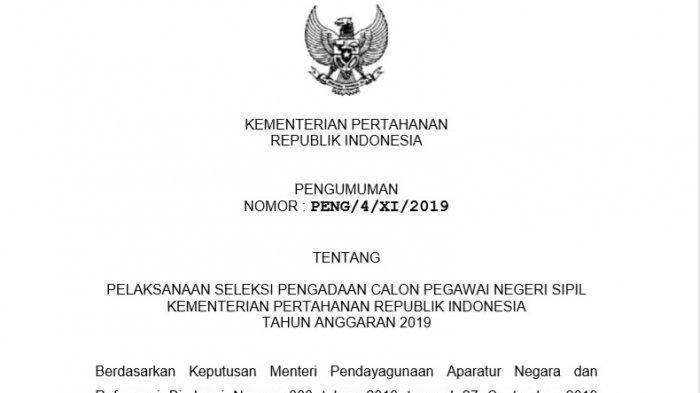 Siap-Siap! Kementerian Pertahanan Kini Buka 552 Formasi CPNS 2019