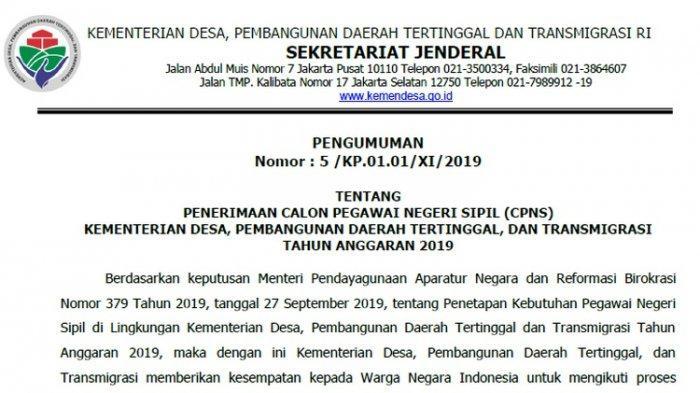 Senin 11 November Pendaftaran CPNS 2019 Dibuka, Berikut Jadwal Lengkap Seleksi CPNS Kemendes