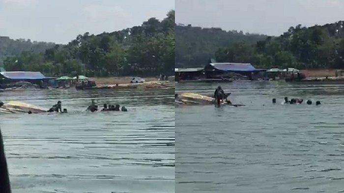 Detik-detik perahu wisatawan yang terbalik di Waduk Kedung Ombo di Dukuh Bulu, Desa Wonoharjo, Kecamatan Kemusu, Kabupaten Boyolali, Sabtu (15/5/2021).