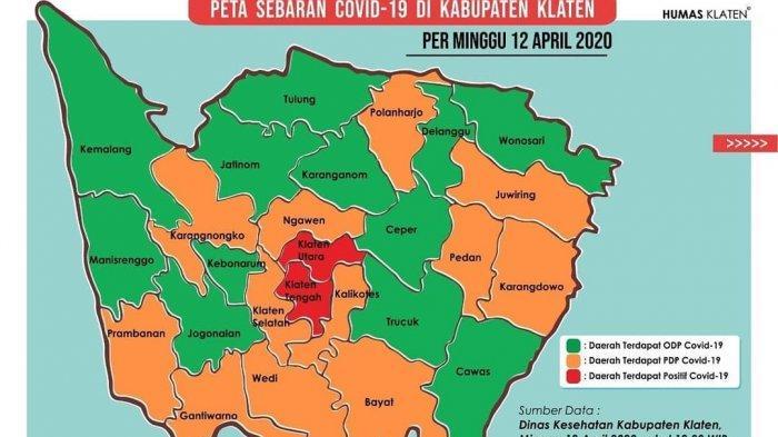 Begini Peta Persebaran Covid-19 di Klaten, Angka ODP Terbanyak Ada di Klaten Utara