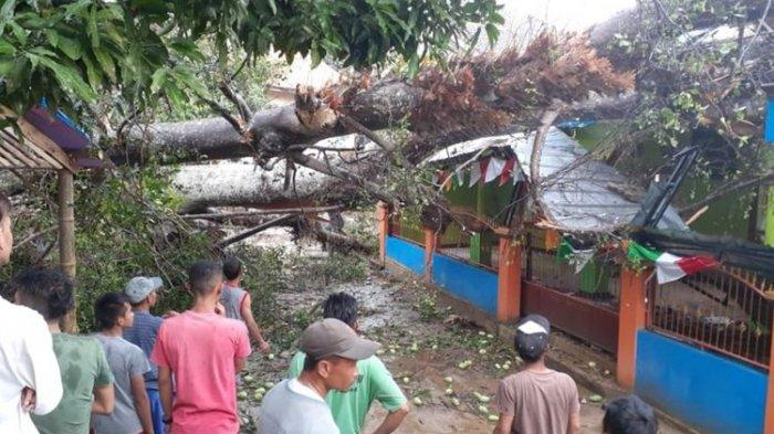 Akibat Puting Beliung, Sebuah Masjid Di Sumedang Tertimba Pohon Besar