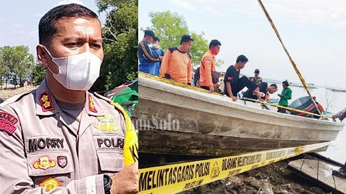 Kapolres Boyolali, AKBP Morry Ermond dan perahu yang bikin petaka dipasang garis polisi di Waduk Kedung Ombo di Dukuh Bulu, Desa Wonoharjo, Kecamatan Kemusu, Kabupaten Boyolali, Sabtu (15/5/2021).
