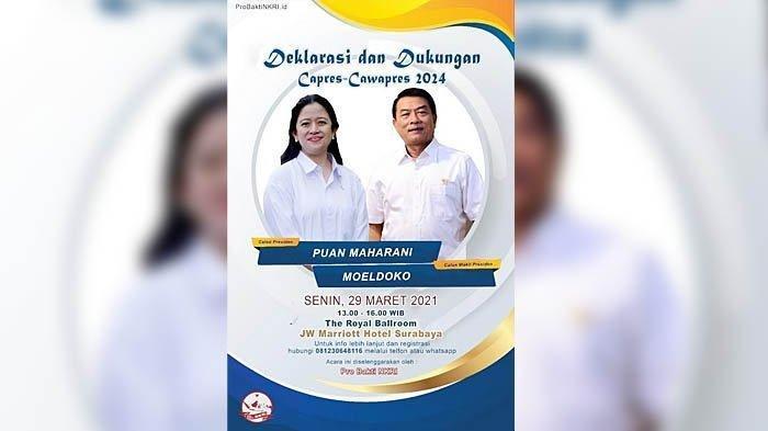 Heboh Poster Deklarasi Duet Puan-Moeldoko Maju Pilpres 2024 Beredar di Grup WA, Siapa Penyebarnya?