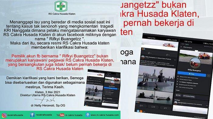 Rumah Sakit di Klaten Laporkan Akun Rifkyi Buangetzz, Gegara Komentar Miring Soal KRI Nanggala di FB