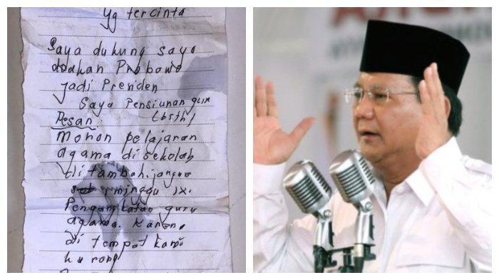 Prabowo Dikirimi Surat dari Pendukungnya, Berisi Harapan agar Pelajaran Agama Ditambah di Sekolah