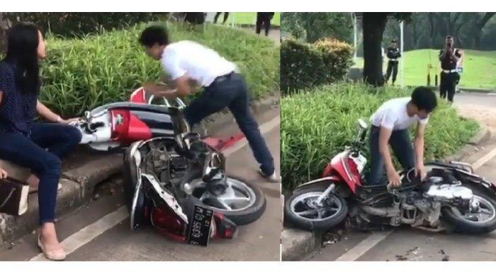 Pria yang Viral karena Tak Terima Ditilang dan Merusak Motor Kini Menangis dan Diamankan Polisi