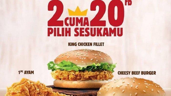 Promo Dobel Deal Burger King Maret 2019, Pilih Dua Menu Favoritmu, Harga Mulai Rp 20 Ribu