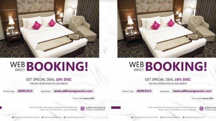 Pesan Kamar Hotel di Adhiwangsa Hotel Solo via Website, Langsung Dapat Diskon 10 Persen