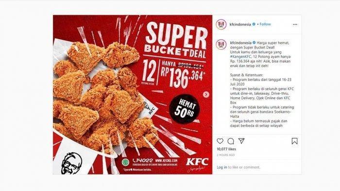 Promo KFC Hari Ini, Beli Super Bucket Deal 12 Ayam Hemat Rp 50.000, Berlaku sampai 23 Juli 2020