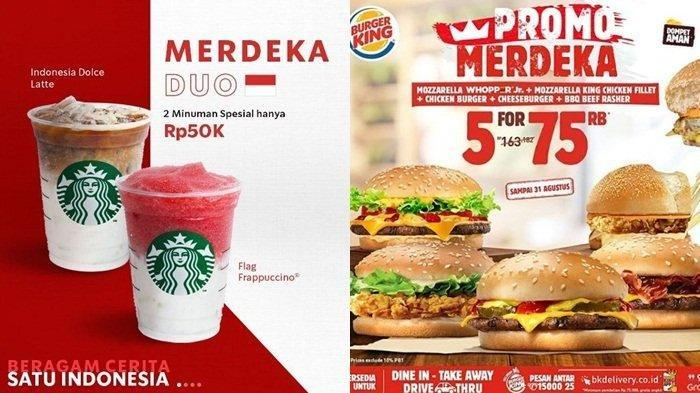 Promo KFC, Burger King, JCO, Starbucks, Pizza Hut, McD Spesial HUT Kemerdekaan RI, Mulai Rp 17