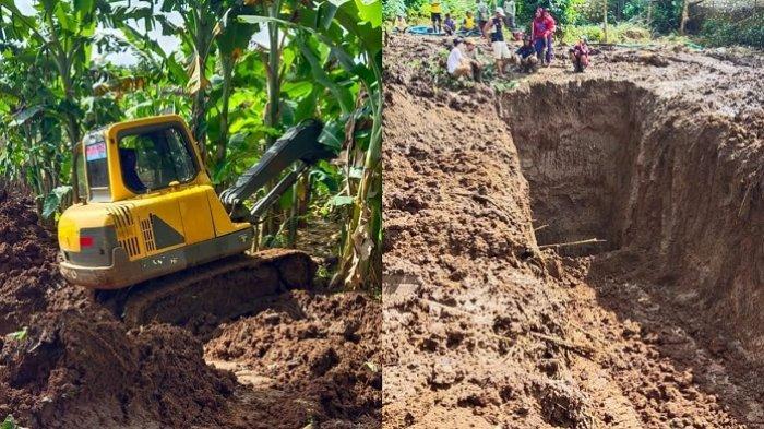 Proses penggalian luweng demi mengatasi genangan banjir yang terjadi di sejumlah titik di Kecamatan Pracimantoro, Kabupaten Wonogiri, Jumat (12/2/2021).