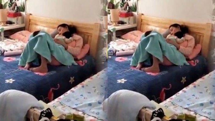 Viral Kisah Suami Pulang Kerja Menangis Lihat Istri Tidur Gendong Anak, Terbersit Penyesalannya