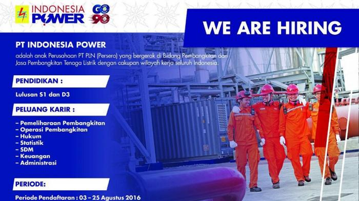 Anak Perusahaan PLN, PT Indonesia Power, Buka Rekrutmen Karyawan untuk Lulusan D3/S1