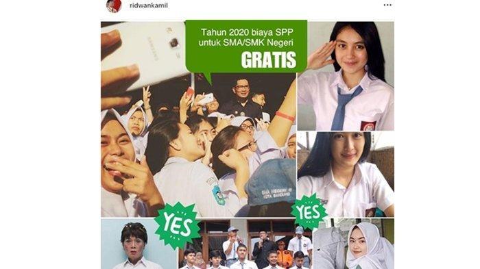 Ridwan Kamil: Berita Gembira, Biaya SPP SMA/SMK Negeri Provinsi Jawa Barat akan Digratiskan