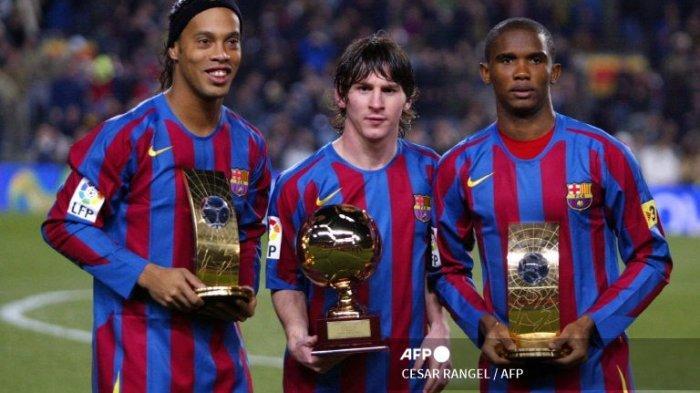 Ronaldinho, Lionel Messi dan Samuel Eto'o saat 20 December 2005