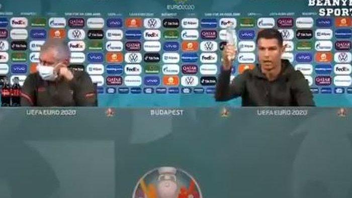 Peristiwa unik mewarnai konferensi pers jelang laga Hungaria Vs Portugal, saat Crostiano Ronaldo marah karena soda, laga pembuka grup F Euro 2020, Selasa (15/6/2021).