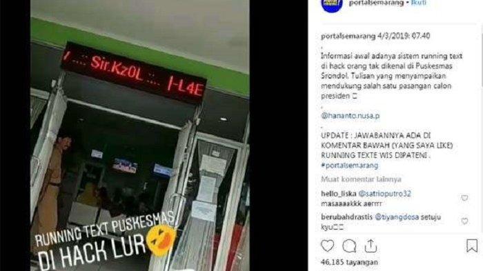 Running Text di Puskesmas Srondol Semarang Tertulis Ajakan Pilih Prabowo, Begini Penjelasan Dinkes