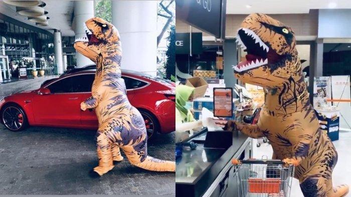 5 BERITA VIRAL TERPOPULER April 2020: Sosok di Balik T-Rex yang Pergi Belanja Naik Mobil Tesla