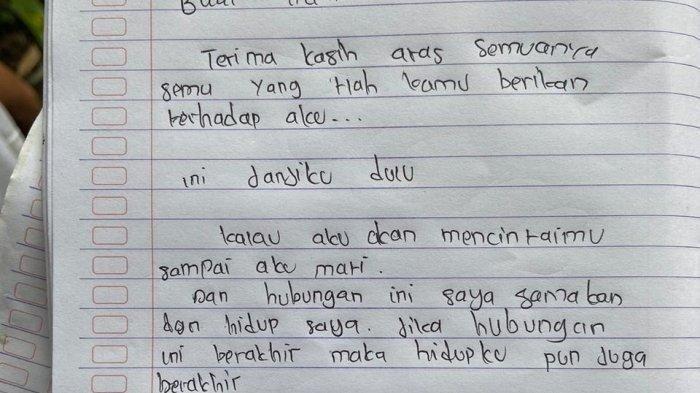 Kalimat Terakhir yang Ditulis Siswi SMA Sebelum Gantung Diri : Janjiku Mencintaimu Sampai Mati
