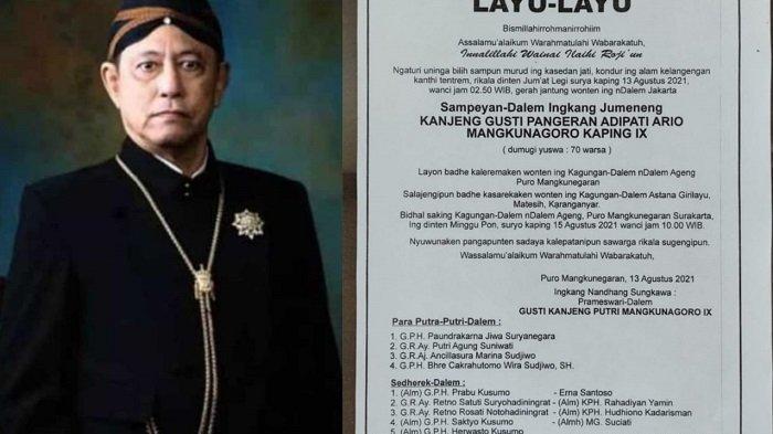 Sosok Kanjeng Gusti Pangeran Adipati Arya (KGPAA) Mangkunegara IX dan kabar lelayu resmi dari Pura Mangkunegaran.