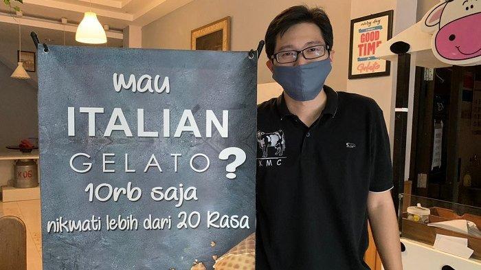 Sosok owner Mogen Gelato, William di Jalan Letjend S Parman No.48, Kecamatan Banjarsari, Kota Solo, Rabu (7/4/2021).