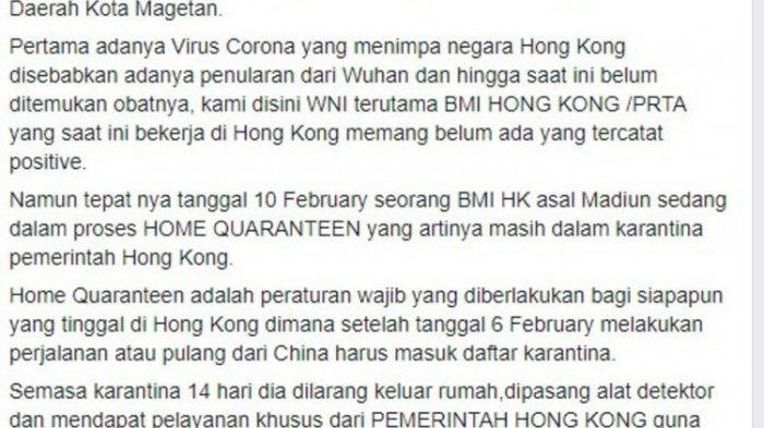 Cerita TKI Asal Magetan di Hongkong yang Minta Bantuan Masker Lewat Facebook