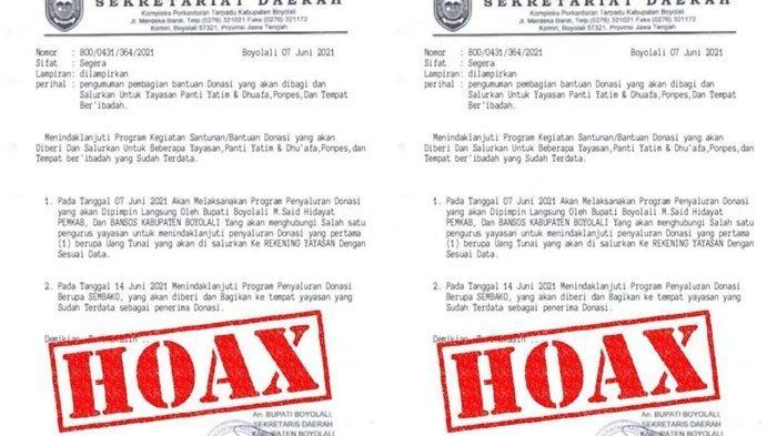 Viral di Boyolali, Ada Surat Edaran Pembagian Uang Donasi Catut Nama Sekda dan Bupati, Ternyata Hoax